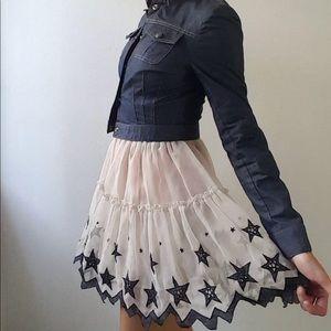 NG tulle Ivory navy star layer sheer mesh skirt s